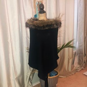 Black fur trim poncho